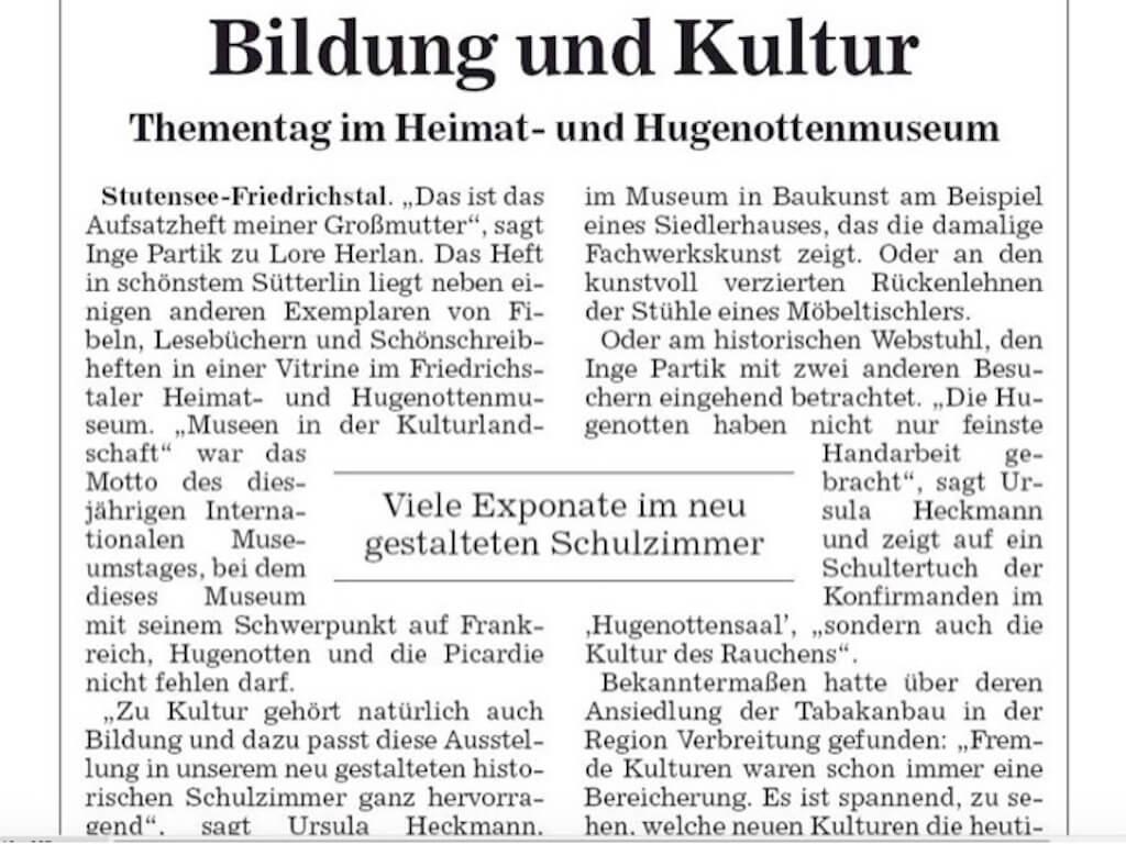 Heimat- und Hugenottenmuseum Friedrichstal: Bericht internationaler Museumstag